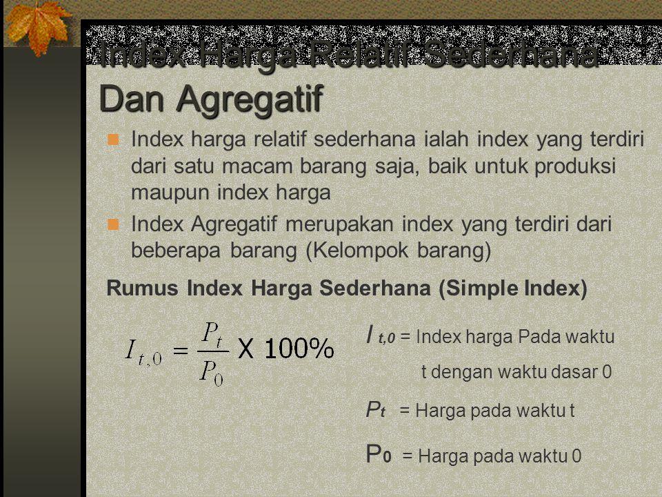 Index Harga Relatif Sederhana Dan Agregatif Index harga relatif sederhana ialah index yang terdiri dari satu macam barang saja, baik untuk produksi ma
