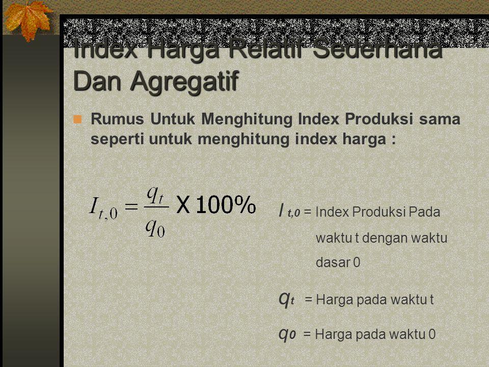 Index Harga Relatif Sederhana Dan Agregatif Rumus Untuk Menghitung Index Produksi sama seperti untuk menghitung index harga : I t,0 = Index Produksi P