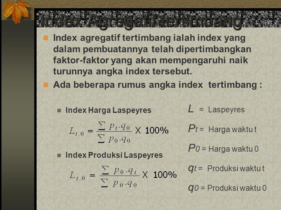 Index Agregatif tertimbang Index agregatif tertimbang ialah index yang dalam pembuatannya telah dipertimbangkan faktor-faktor yang akan mempengaruhi n