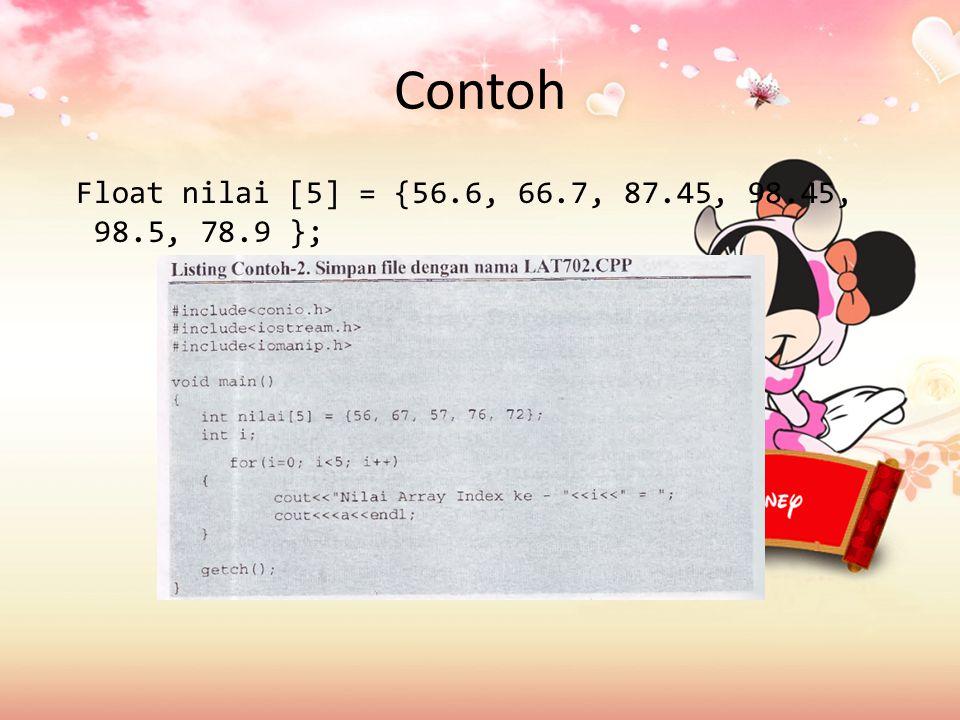 Contoh Float nilai [5] = {56.6, 66.7, 87.45, 98.45, 98.5, 78.9 };