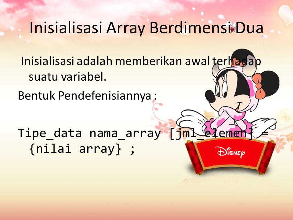 Inisialisasi Array Berdimensi Dua Inisialisasi adalah memberikan awal terhadap suatu variabel.