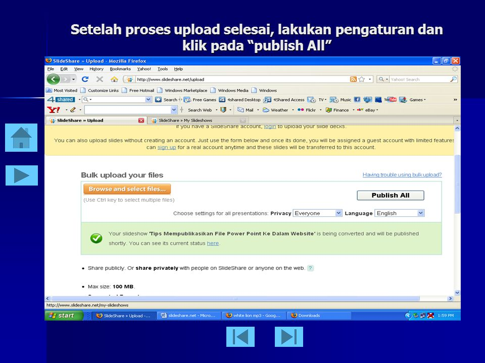 """Klik pada """"browse and select file"""", pilih file yang akan anda upload, dan klik upload sampai muncul tampilan ini"""