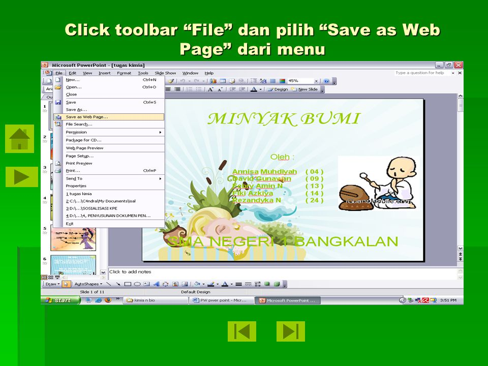 Buka presentasi Microsoft Power Point yang ingin dimasukkan ke website