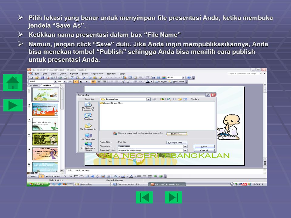 Click toolbar File dan pilih Save as Web Page dari menu