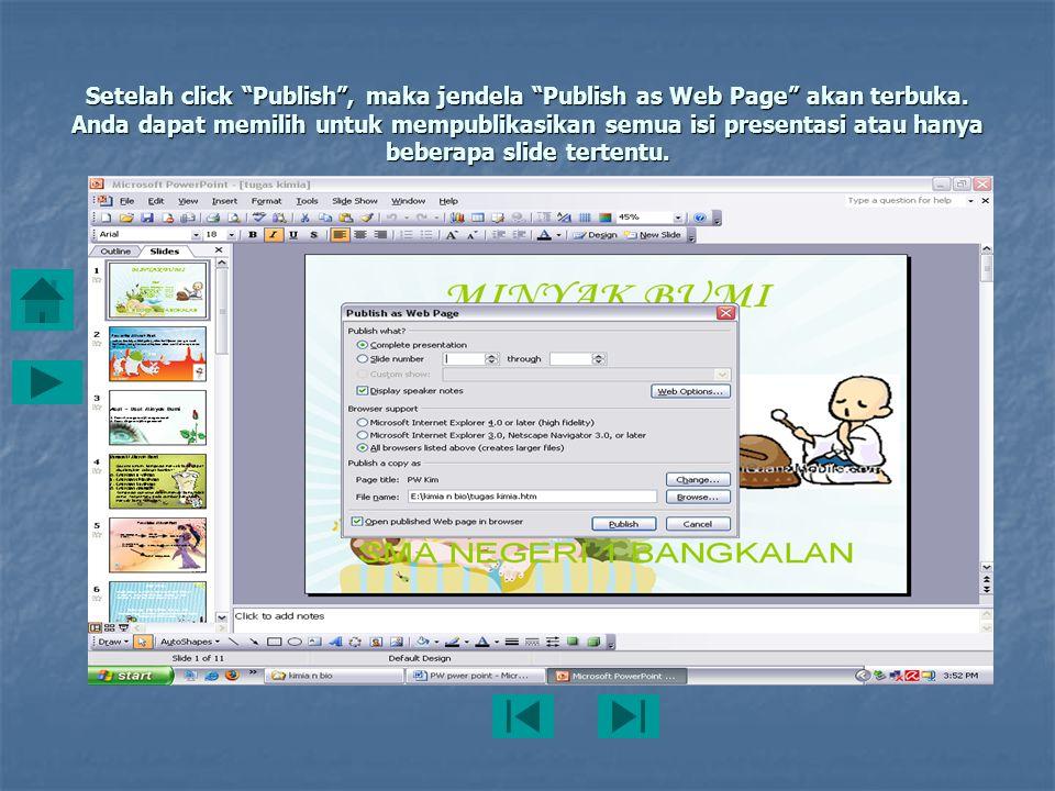 Setelah click Publish , maka jendela Publish as Web Page akan terbuka.