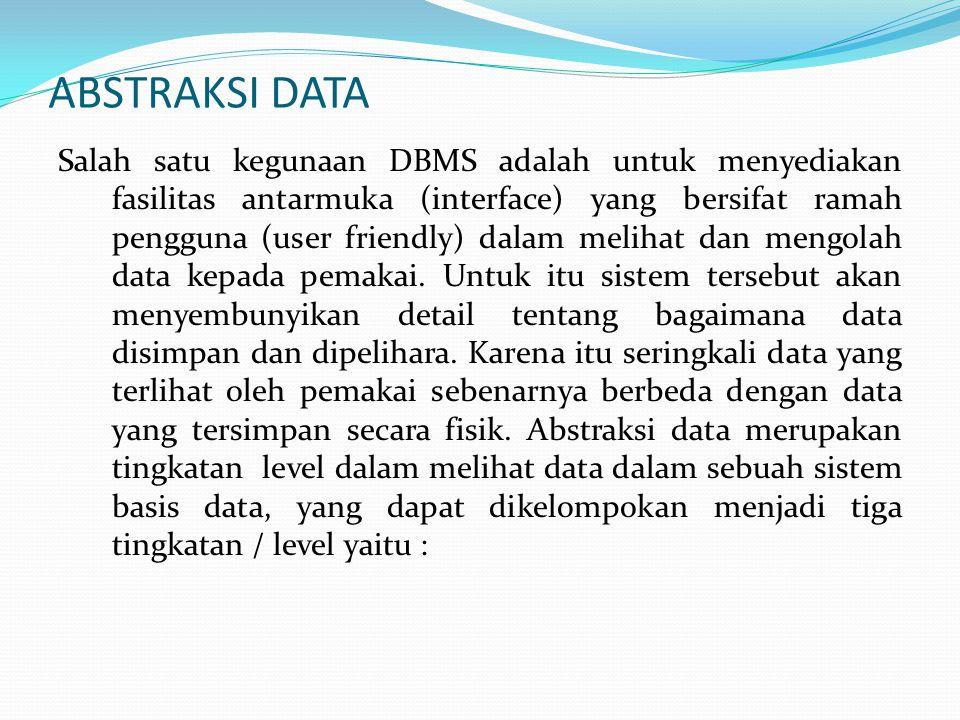 1.Level Fisik (Physical Level) Merupakan level terendah dalam abstraksi data.