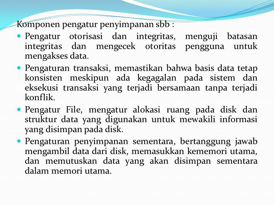 Komponen pengatur penyimpanan sbb : Pengatur otorisasi dan integritas, menguji batasan integritas dan mengecek otoritas pengguna untuk mengakses data.