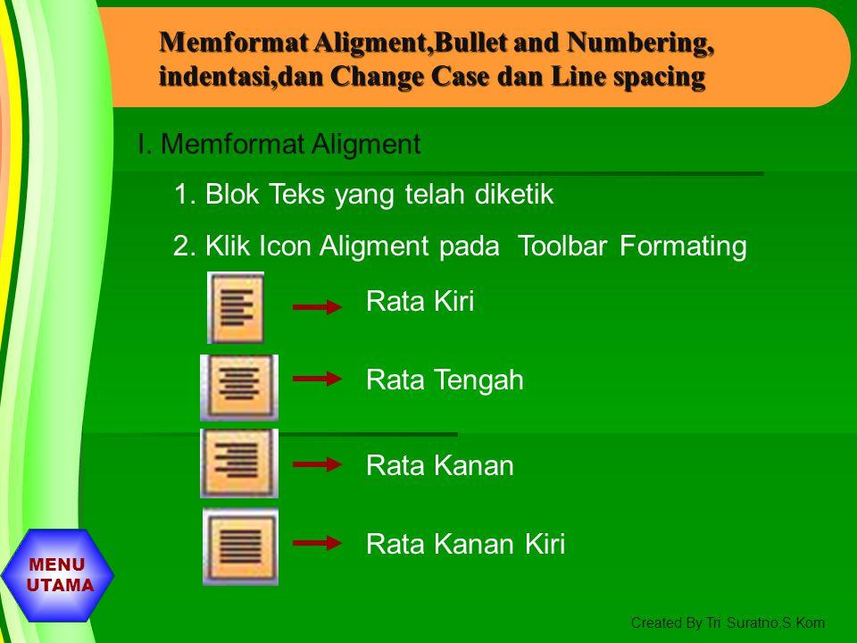 MENU UTAMA Created By Tri Suratno,S.Kom Memformat Teks Pada Slide I. Memformat Font, Size, dan Style 1. Klik Icon Font pada Toolbar Formating Kemudian