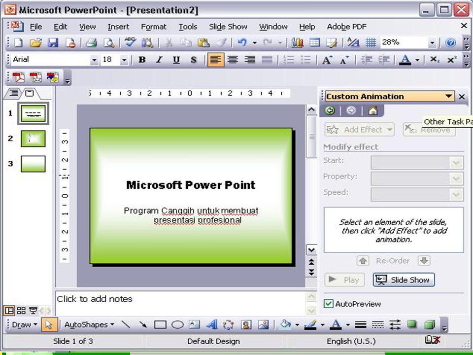 MENU UTAMA Created By Tri Suratno,S.Kom Mengatur Format Tampilan Slide I. Memberi Warna Latar Belakang Slide 1. Buka Slide yang telah dibuat 2. Pilih