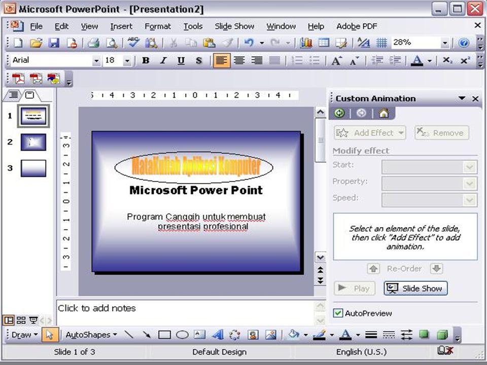 MENU UTAMA Created By Tri Suratno,S.Kom Mengatur Format Tampilan Slide 1. Buka Slide yang telah dibuat 2. Pilih Menu Format Kemudian Klik Backgraund 3