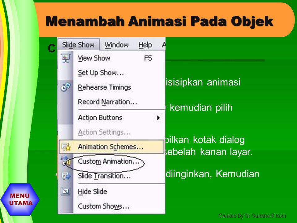 MENU UTAMA Created By Tri Suratno,S.Kom Menambahkan Animasi Pada Objek 1. Pilih slide yang akan disisipkan Animasi 2. Pilih Menu Slide Show kemudian p