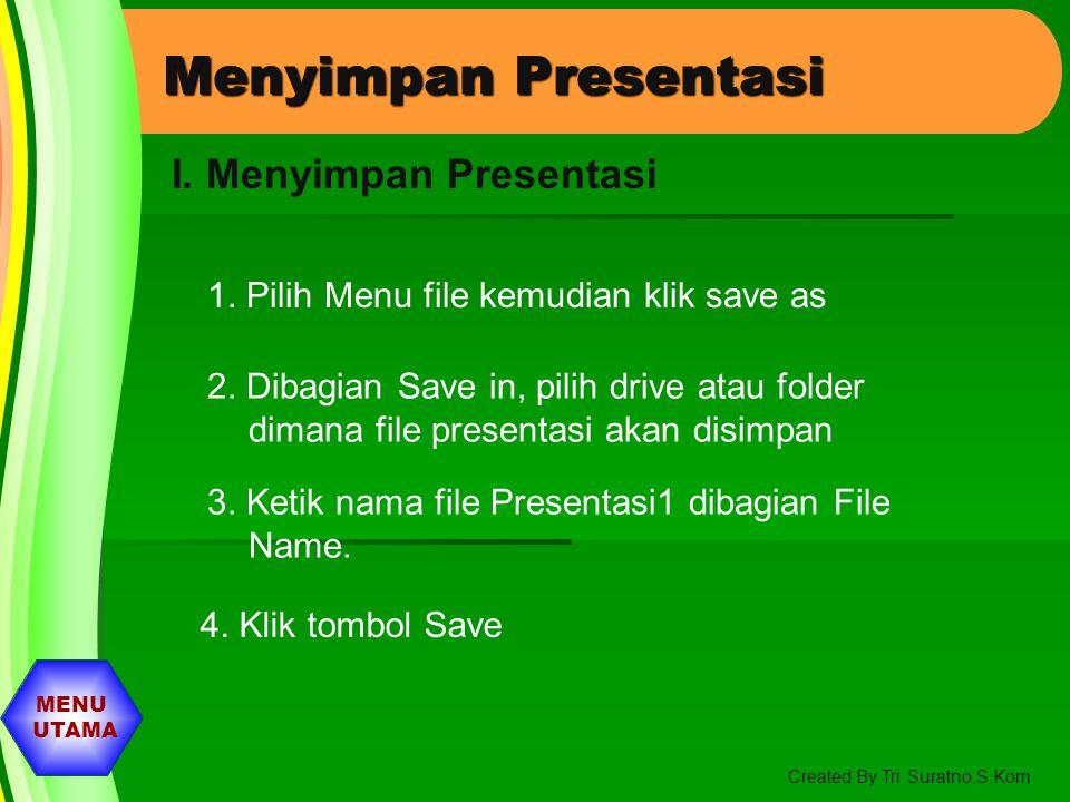 MENU UTAMA Created By Tri Suratno,S.Kom Menambah Animasi Pada Objek 1. pilih slide yang akan disisipkan animasi 2. Pilih Menu Slide Show kemudian pili