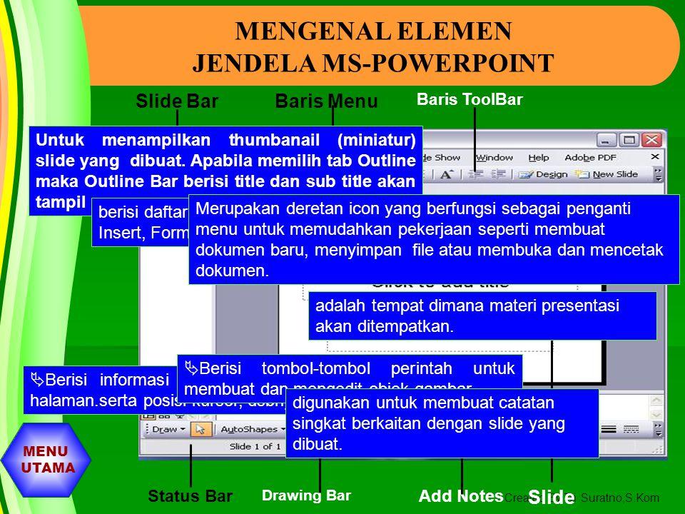 MENU UTAMA Created By Tri Suratno,S.Kom MENGENAL POWER POINT Untuk memulai PowerPoint, ikuti langkakh berikut ini :  Aktifkan Komputer terlebih dahul