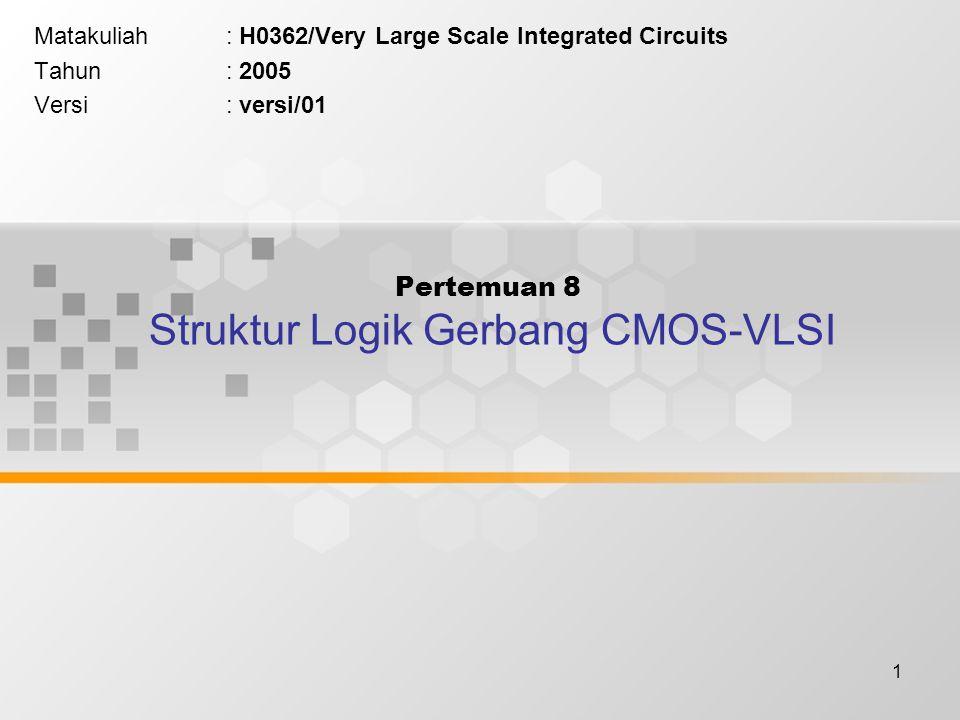 1 Pertemuan 8 Struktur Logik Gerbang CMOS-VLSI Matakuliah: H0362/Very Large Scale Integrated Circuits Tahun: 2005 Versi: versi/01