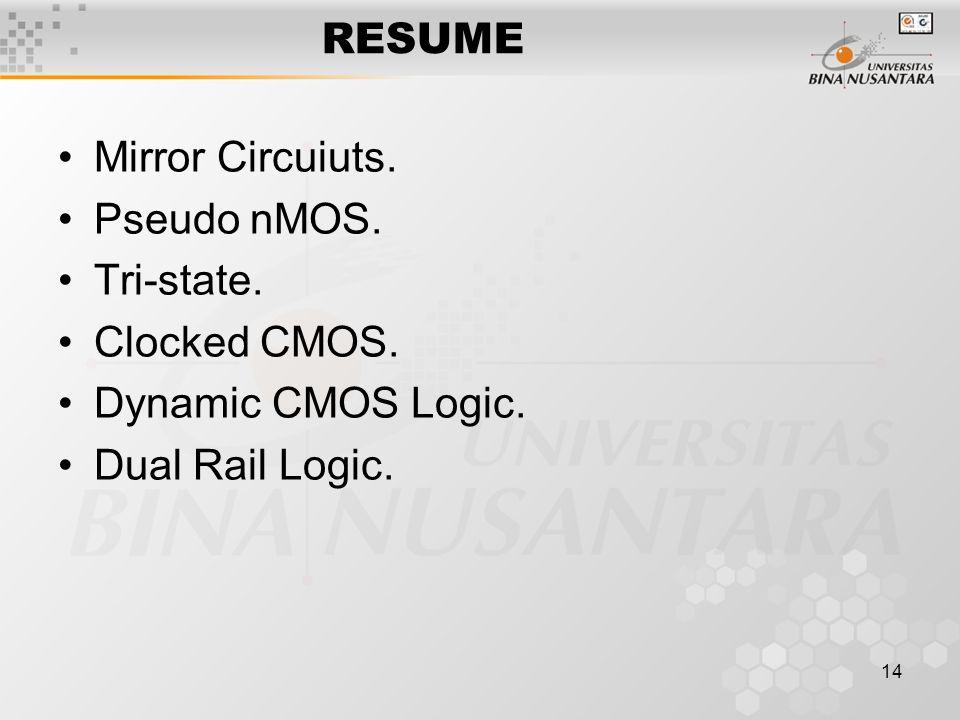 14 RESUME Mirror Circuiuts. Pseudo nMOS. Tri-state. Clocked CMOS. Dynamic CMOS Logic. Dual Rail Logic.