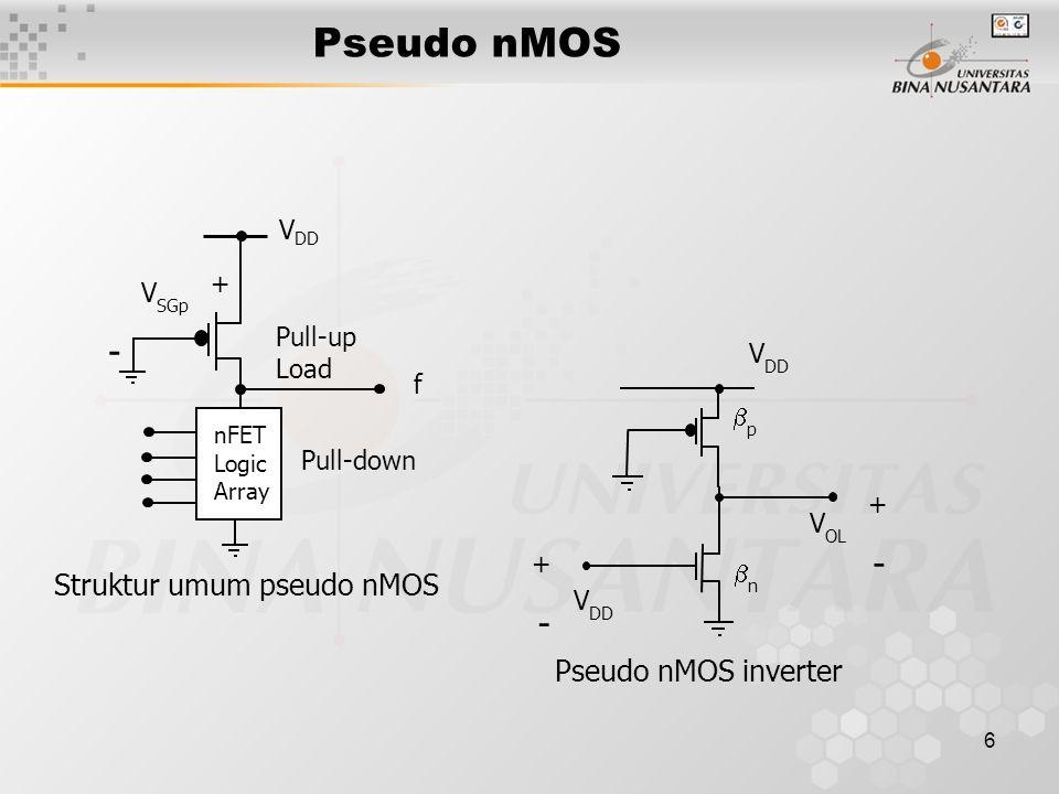 6 Pseudo nMOS V DD Pull-up Load nFET Logic Array Pull-down + - V SGp f Struktur umum pseudo nMOS V DD pp nn V OL V DD + - + - Pseudo nMOS inverter