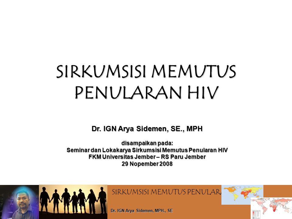 SIRKUMSISI MEMUTUS PENULARAN HIV Dr. IGN Arya Sidemen, MPH., SE SIRKUMSISI MEMUTUS PENULARAN HIV Dr. IGN Arya Sidemen, SE., MPH disampaikan pada: Semi
