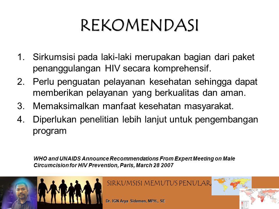 SIRKUMSISI MEMUTUS PENULARAN HIV Dr. IGN Arya Sidemen, MPH., SE REKOMENDASI 1.Sirkumsisi pada laki-laki merupakan bagian dari paket penanggulangan HIV