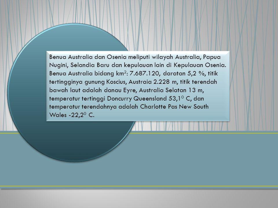 Benua Australia dan Osenia meliputi wilayah Australia, Papua Nugini, Selandia Baru dan kepulauan lain di Kepulauan Osenia. Benua Australia bidang km 2