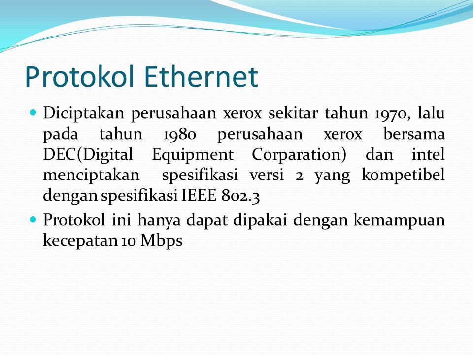 Protokol Ethernet Diciptakan perusahaan xerox sekitar tahun 1970, lalu pada tahun 1980 perusahaan xerox bersama DEC(Digital Equipment Corparation) dan intel menciptakan spesifikasi versi 2 yang kompetibel dengan spesifikasi IEEE 802.3 Protokol ini hanya dapat dipakai dengan kemampuan kecepatan 10 Mbps
