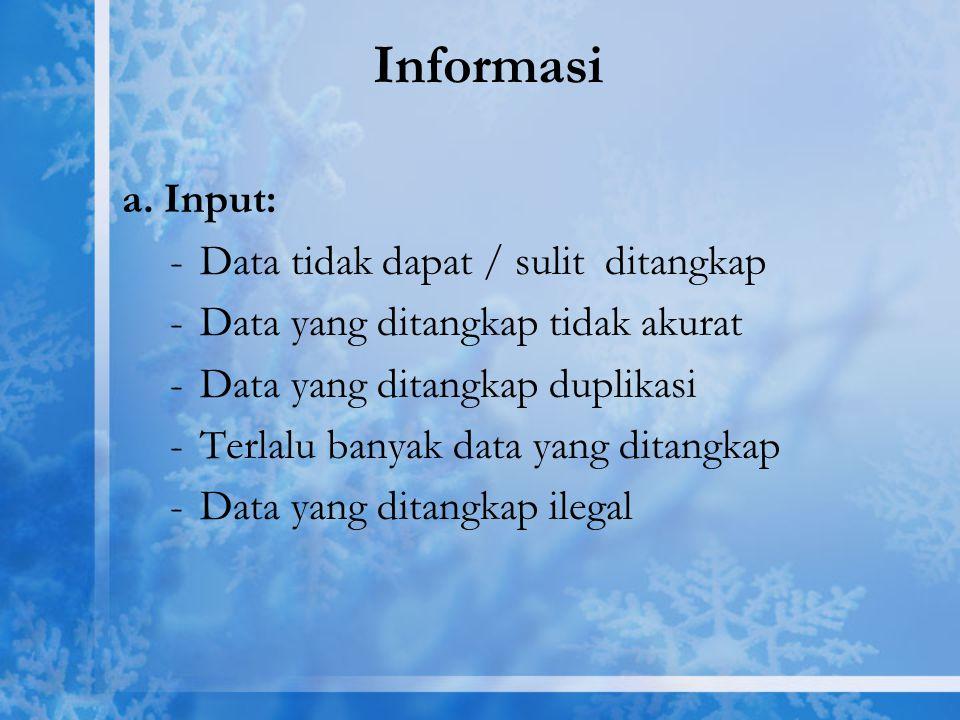 Informasi a. Input: -Data tidak dapat / sulit ditangkap -Data yang ditangkap tidak akurat -Data yang ditangkap duplikasi -Terlalu banyak data yang dit