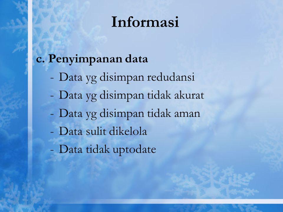 Informasi c. Penyimpanan data -Data yg disimpan redudansi -Data yg disimpan tidak akurat -Data yg disimpan tidak aman -Data sulit dikelola -Data tidak
