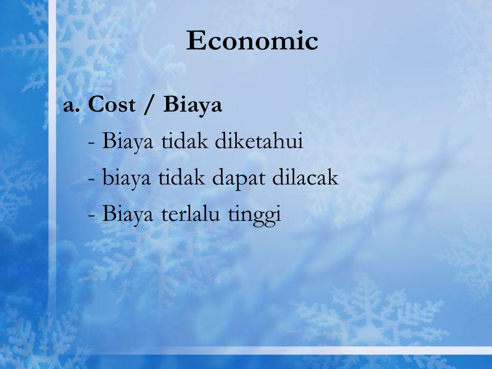 Economic a. Cost / Biaya - Biaya tidak diketahui - biaya tidak dapat dilacak - Biaya terlalu tinggi