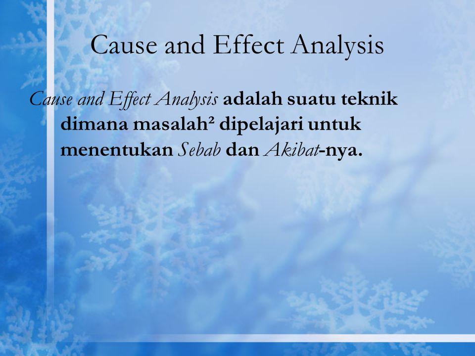 Cause and Effect Analysis Cause and Effect Analysis adalah suatu teknik dimana masalah² dipelajari untuk menentukan Sebab dan Akibat-nya.