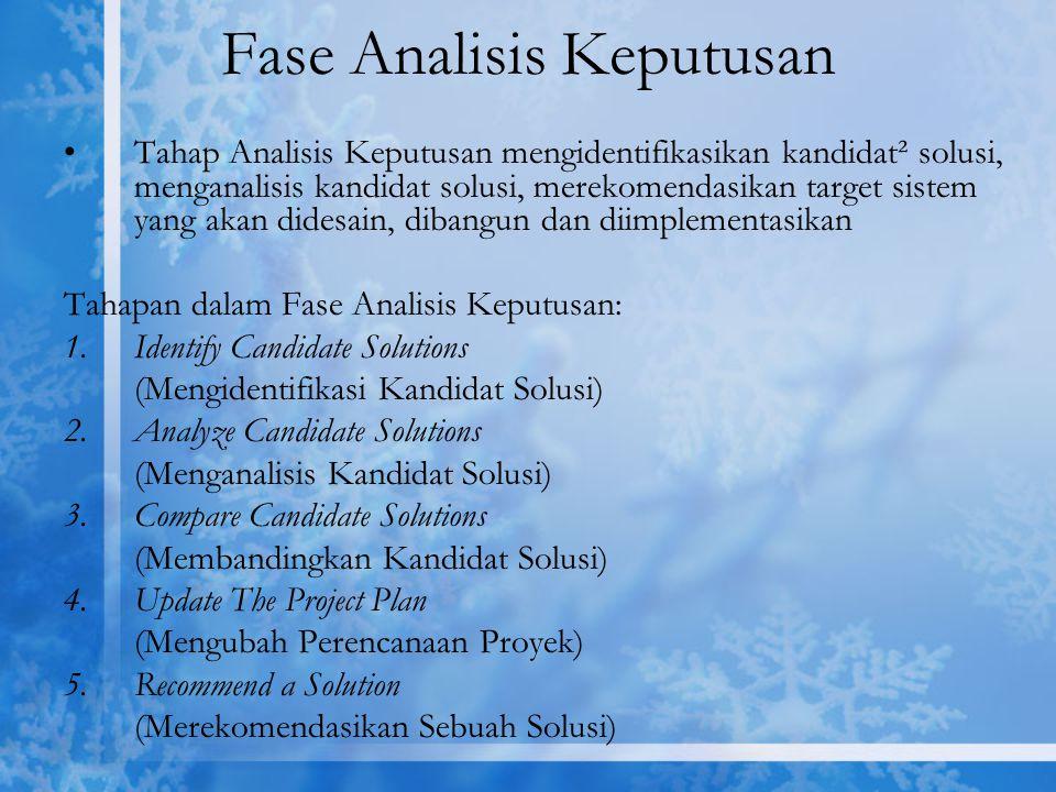 Fase Analisis Keputusan Tahap Analisis Keputusan mengidentifikasikan kandidat² solusi, menganalisis kandidat solusi, merekomendasikan target sistem ya