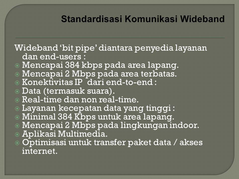 Wideband 'bit pipe' diantara penyedia layanan dan end-users :  Mencapai 384 kbps pada area lapang.  Mencapai 2 Mbps pada area terbatas.  Konektivit