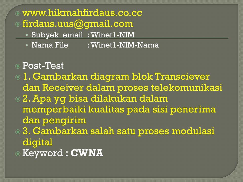  www.hikmahfirdaus.co.cc  firdaus.uus@gmail.com Subyek email: Winet1-NIM Nama File : Winet1-NIM-Nama  Post-Test  1. Gambarkan diagram blok Transci