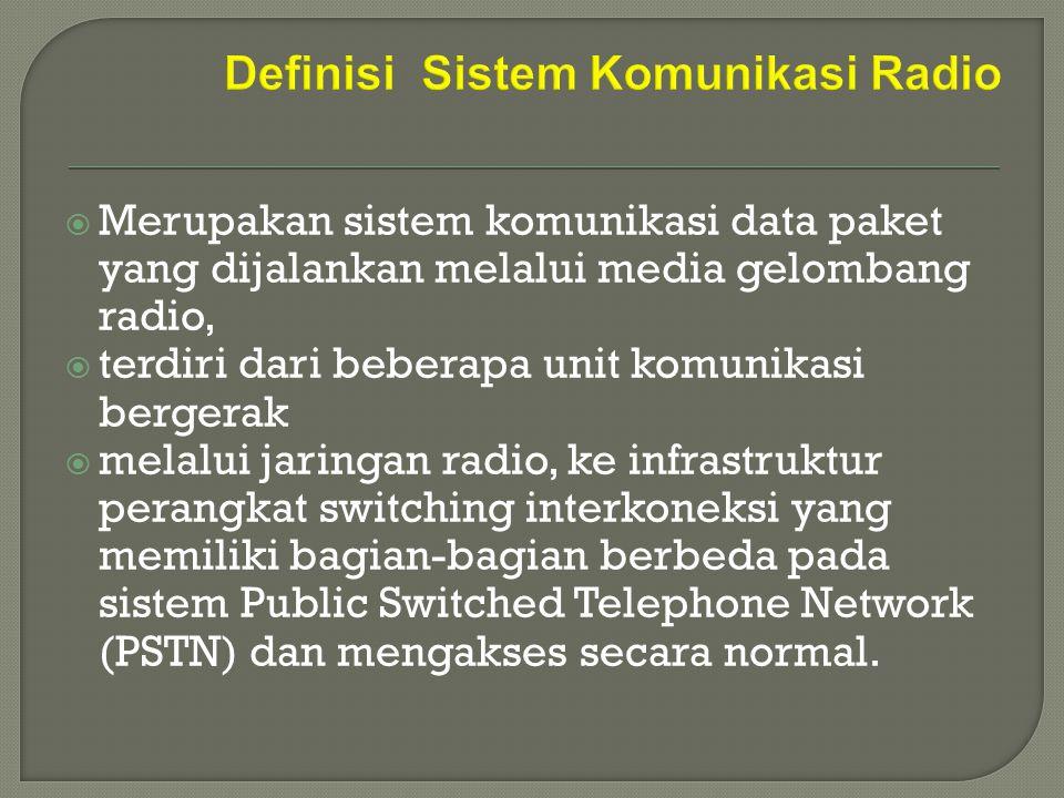  Merupakan sistem komunikasi data paket yang dijalankan melalui media gelombang radio,  terdiri dari beberapa unit komunikasi bergerak  melalui jar