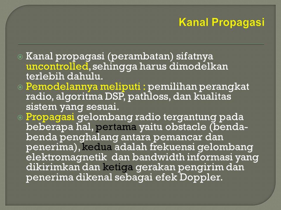  Karakteristik dari kanal propagasi diantaranya adalah redaman propagasi (selisih antara daya pancar dan daya terima) dan fading (fluktuasi daya di penerima, disebabkan karena perubahan 'kondisi' kanal propagasi selama terjadinya komunikasi).