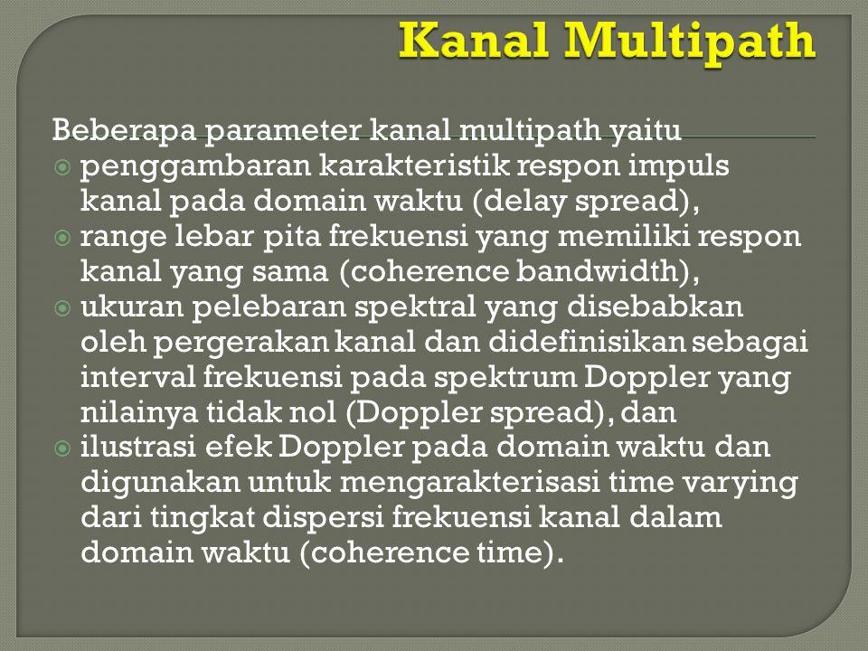 Beberapa parameter kanal multipath yaitu  penggambaran karakteristik respon impuls kanal pada domain waktu (delay spread),  range lebar pita frekuen