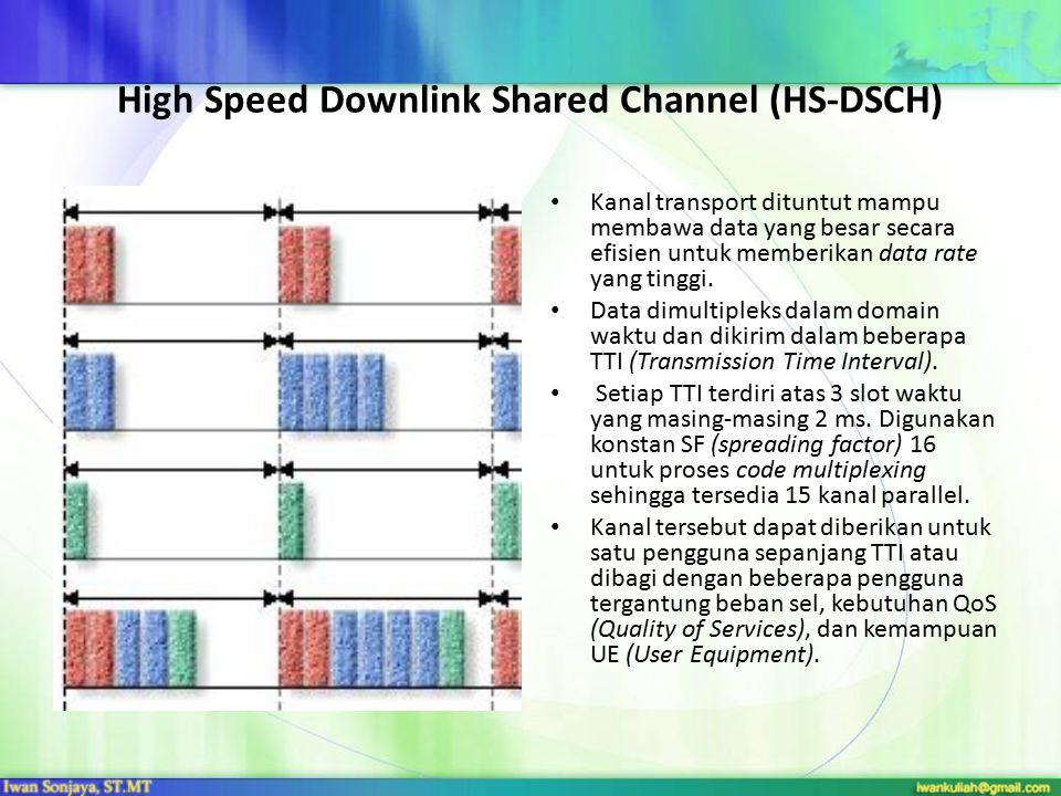 High Speed Downlink Shared Channel (HS-DSCH) Kanal transport dituntut mampu membawa data yang besar secara efisien untuk memberikan data rate yang tin