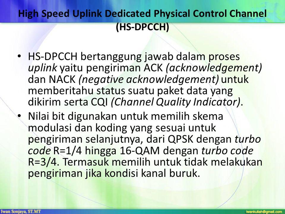 High Speed Uplink Dedicated Physical Control Channel (HS-DPCCH) HS-DPCCH bertanggung jawab dalam proses uplink yaitu pengiriman ACK (acknowledgement)