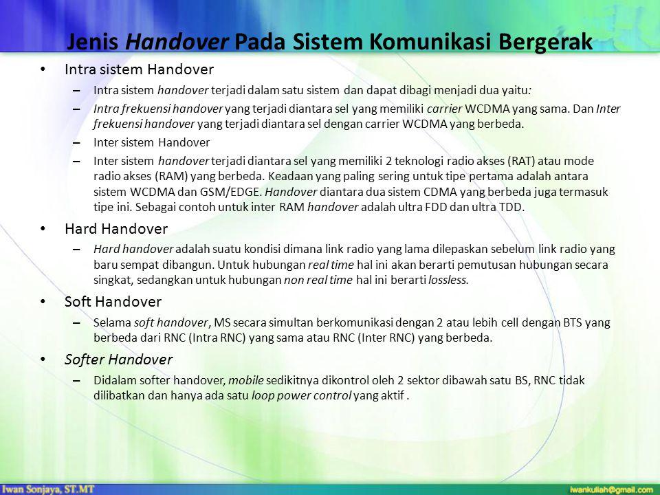Jenis Handover Pada Sistem Komunikasi Bergerak Intra sistem Handover – Intra sistem handover terjadi dalam satu sistem dan dapat dibagi menjadi dua ya