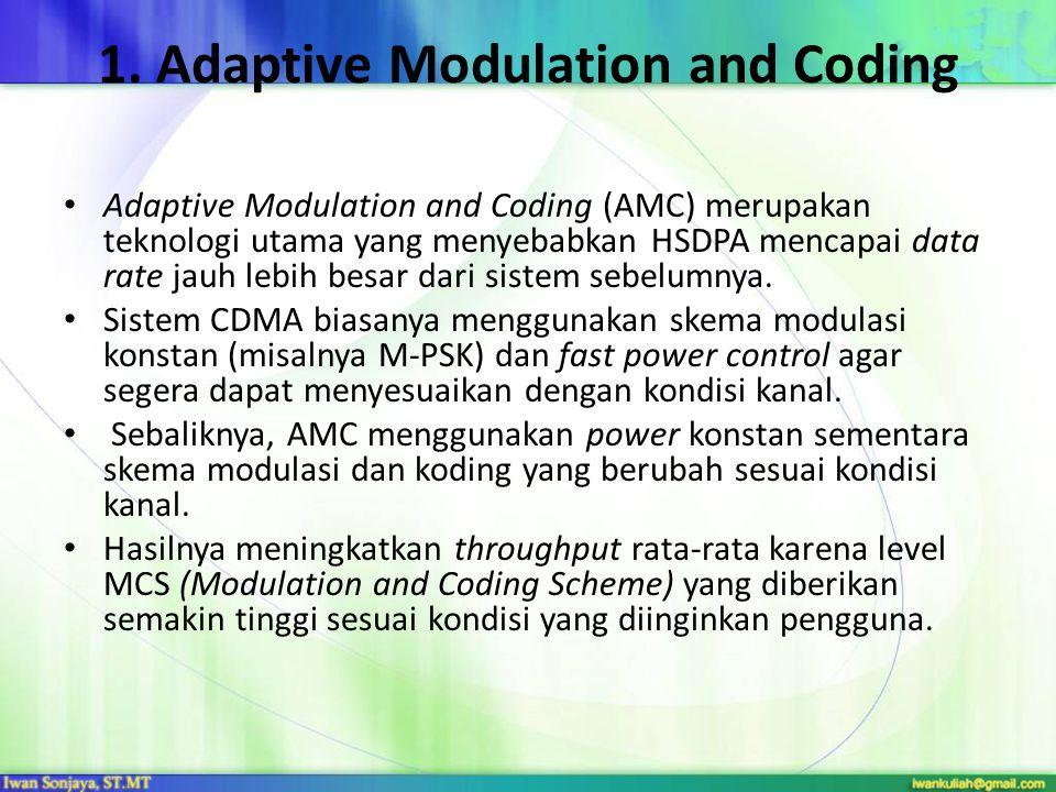 1. Adaptive Modulation and Coding Adaptive Modulation and Coding (AMC) merupakan teknologi utama yang menyebabkan HSDPA mencapai data rate jauh lebih