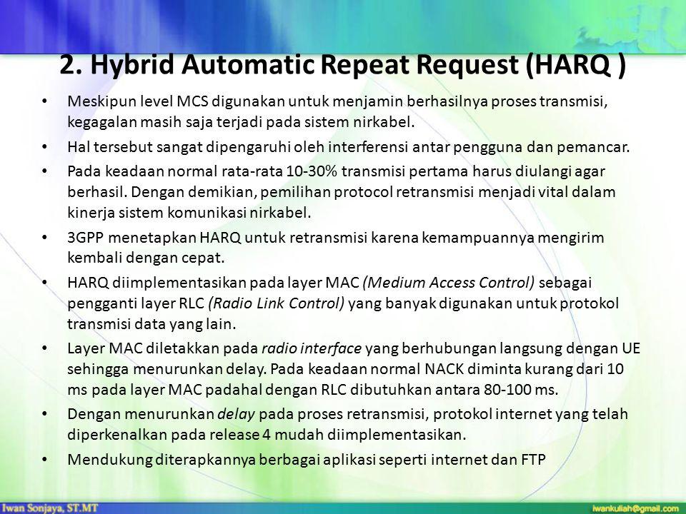 2. Hybrid Automatic Repeat Request (HARQ ) Meskipun level MCS digunakan untuk menjamin berhasilnya proses transmisi, kegagalan masih saja terjadi pada