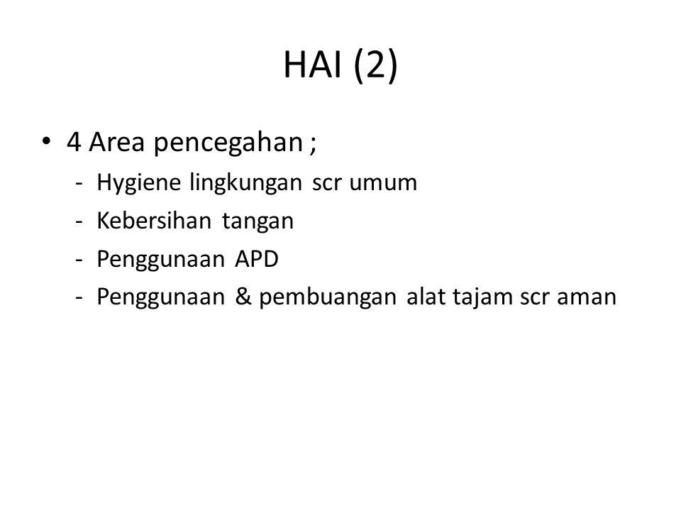 HAI (2) 4 Area pencegahan ; -Hygiene lingkungan scr umum -Kebersihan tangan -Penggunaan APD -Penggunaan & pembuangan alat tajam scr aman