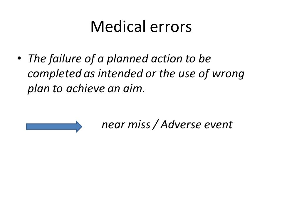 NEAR MISS / nyaris cedera (NC) = Ditemukan suatu kesalahan TEPAT sebelum sebelum KTD terjadi - Akibat melakukan tindakan (comission),/ tdk mengambil tindakan yg seharusnya diambil (omission) yg dpt mencederai px tp tdk serius krn keberuntungan