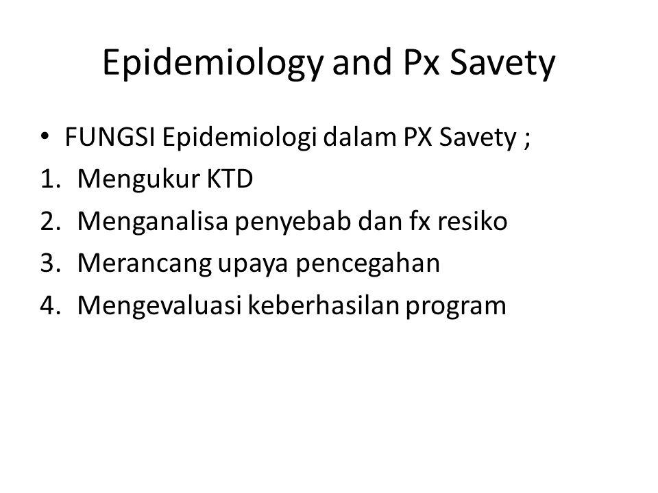 Epidemiology and Px Savety FUNGSI Epidemiologi dalam PX Savety ; 1.Mengukur KTD 2.Menganalisa penyebab dan fx resiko 3.Merancang upaya pencegahan 4.Me