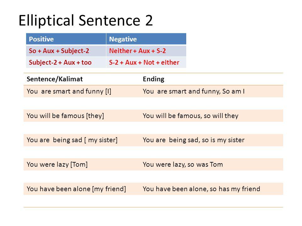 Elliptical Sentence 2 PositiveNegative So + Aux + Subject-2Neither + Aux + S-2 Subject-2 + Aux + tooS-2 + Aux + Not + either Sentence/KalimatEnding Yo