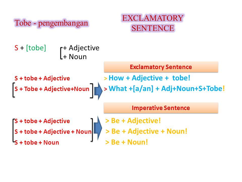 S + [tobe] + Adjective + Noun S + tobe + Adjective > How + Adjective + tobe! S + Tobe + Adjective+Noun > What +[a/an] + Adj+Noun+S+Tobe! S + tobe + Ad
