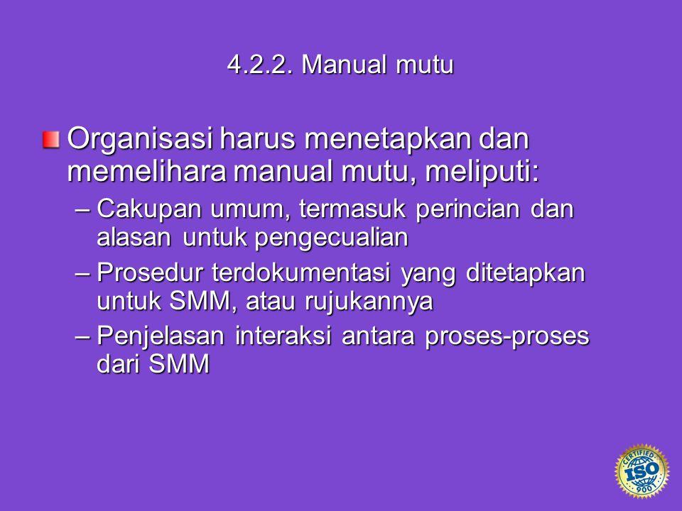 4.2.2. Manual mutu Organisasi harus menetapkan dan memelihara manual mutu, meliputi: –Cakupan umum, termasuk perincian dan alasan untuk pengecualian –