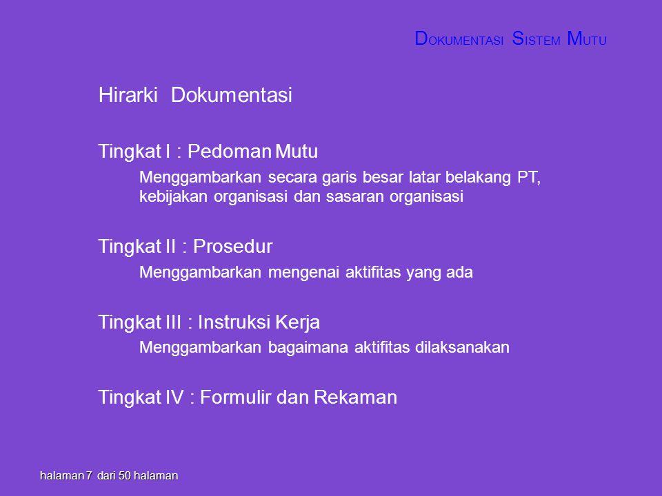 halaman 7 dari 50 halaman Hirarki Dokumentasi Tingkat I : Pedoman Mutu Menggambarkan secara garis besar latar belakang PT, kebijakan organisasi dan sa