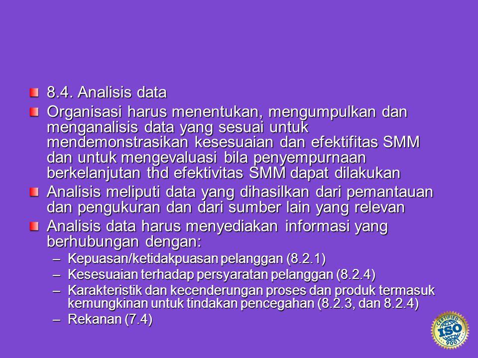 8.4. Analisis data Organisasi harus menentukan, mengumpulkan dan menganalisis data yang sesuai untuk mendemonstrasikan kesesuaian dan efektifitas SMM