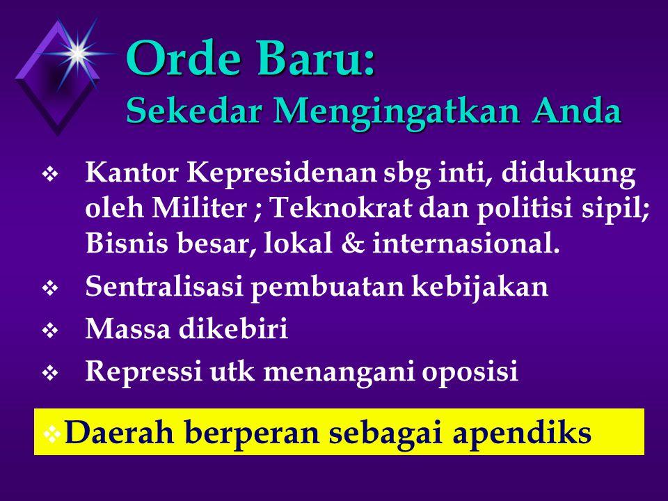 Orde Baru: Sekedar Mengingatkan Anda  Kantor Kepresidenan sbg inti, didukung oleh Militer ; Teknokrat dan politisi sipil; Bisnis besar, lokal & internasional.