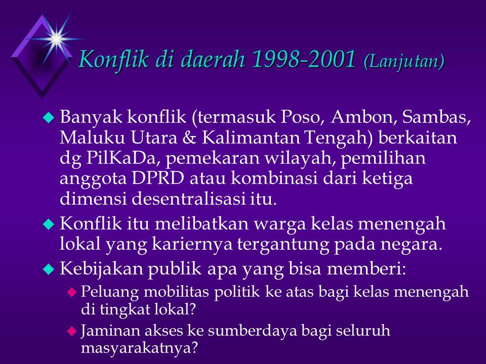 Konflik di daerah 1998-2001 (Lanjutan) u Banyak konflik (termasuk Poso, Ambon, Sambas, Maluku Utara & Kalimantan Tengah) berkaitan dg PilKaDa, pemekaran wilayah, pemilihan anggota DPRD atau kombinasi dari ketiga dimensi desentralisasi itu.
