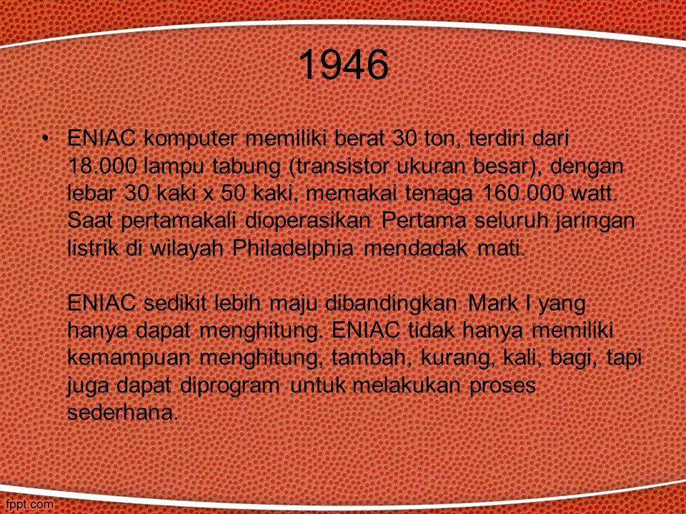 1946 ENIAC komputer memiliki berat 30 ton, terdiri dari 18.000 lampu tabung (transistor ukuran besar), dengan lebar 30 kaki x 50 kaki, memakai tenaga 160.000 watt.